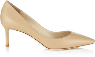 Jimmy Choo ROMY 60 Nude Kid Leather Pointy Toe Pumps