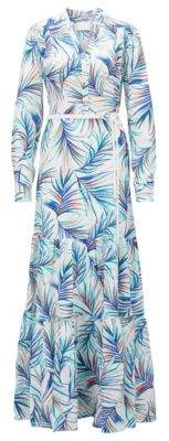 BOSS Hugo Long-sleeved silk maxi dress in palm-leaf print 6 Patterned