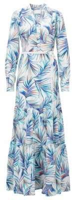BOSS Hugo Long-sleeved silk maxi dress in palm-leaf print 4 Patterned