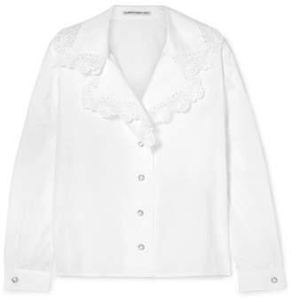 Alessandra Rich - Lace-trimmed Cotton-poplin Shirt - White