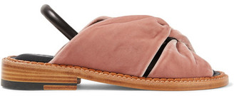 Robert Clergerie - Bloss Knotted Velvet And Leather Slingback Sandals - Blush $595 thestylecure.com