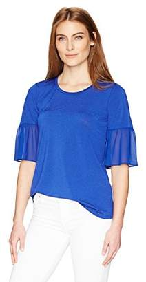 Ellen Tracy Women's Mixed Media Flounce Sleeve Top