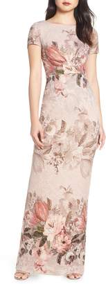 Adrianna Papell Floral Border Print Evening Dress
