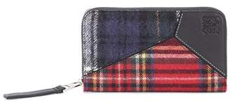 Puzzle leather-trimmed wallet