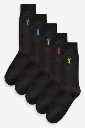 Next Mens Black Socks With Multi Stag Embroidery Five Pack - Black