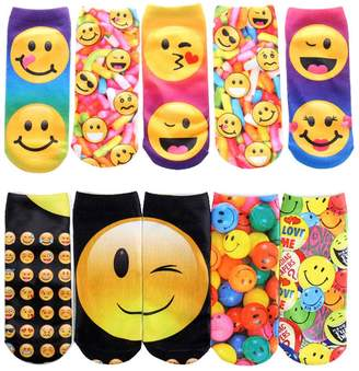 SherryDC Unicorn Emoji Emoticons Food Cat Photo Print Crazy No Show Ankle Socks Pack