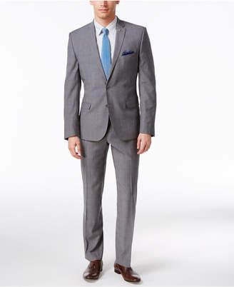 Nick Graham Men's Slim Fit Stretch Gray/Blue Plaid Suit $395 thestylecure.com