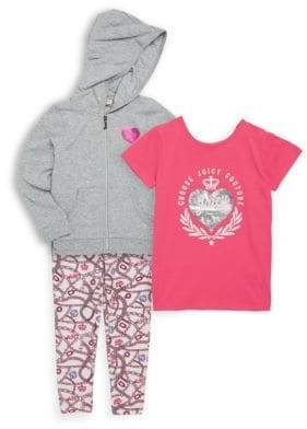 Juicy Couture Little Girls' Three-Piece Hoodie T-Shirt and Leggings Set