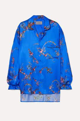 Preen by Thornton Bregazzi Oversized Asymmetric Floral-print Satin Shirt - Blue
