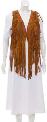 Torn By Ronny Kobo Fringe-Accented Leather Vest w/ Tags