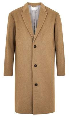Topman Mens Brown Camel Oversized Overcoat