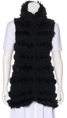 Diane von Furstenberg Wool & Rabbit Longline Vest