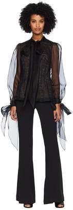 Marchesa Button Front Organza Blouse w/ Bow at Cuff and Neck w/ Nude Cami Underlay Women's Dress