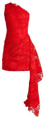 Osman Yari One Shoulder Lace Dress - Womens - Red