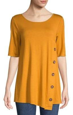 Cable & Gauge Buttoned Short-Sleeve Top