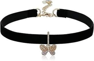 Betsey Johnson Pave Butterfly Charm Choker Necklace