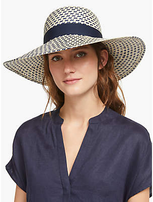 36f3ad87 John Lewis & Partners Textured Navy Bow Floppy Sun Hat, Navy Mix