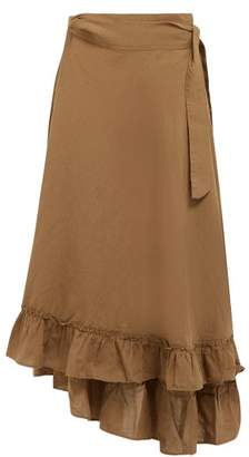 Apiece Apart Feliz Linen And Cotton Blend Wrap Skirt - Womens - Khaki