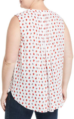 NYDJ Plus Sleeveless Paisley Button-Front Blouse