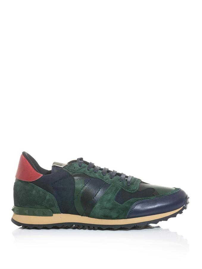 Valentino Nylon, suede and leather camo trainers