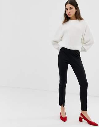 Ichi stretch pants with split hem