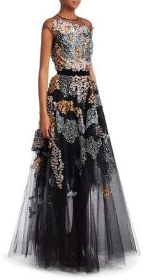 Talbot Runhof Beaded Illusion Fit-and-Flare Gown