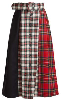 Isa Arfen - Panelled Tartan Wool Skirt - Womens - Red Multi
