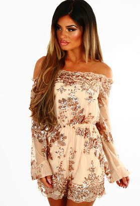 Pink Boutique Own The Night Rose Gold Bardot Sequin Playsuit