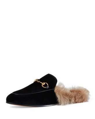 Gucci Princetown Velvet Fur-Lined Mule, Nero $850 thestylecure.com