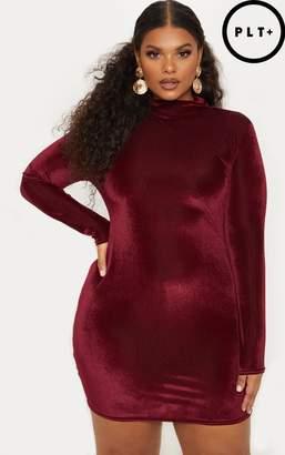 PrettyLittleThing Plus Burgundy Ribbed Velvet Bodycon Dress
