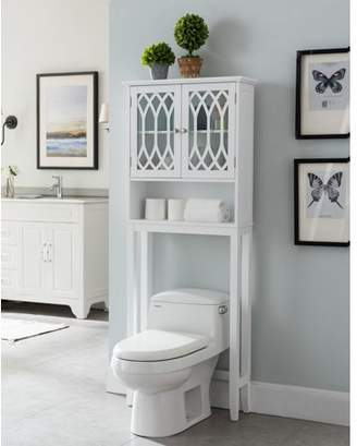 Pilaster Designs Helsinki Over The Toilet Bathroom Spacesaver Storage Rack Organizer With Cabinet & Shelves, White Wood, Contemporary