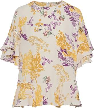 By Ti Mo Bytimo Ruffled Floral-print Crepe De Chine Blouse