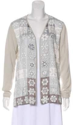 Hermes Feux De L'Hiver Silk-Paneled Cardigan