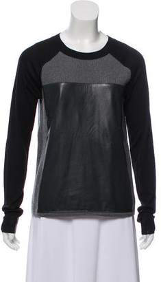 Reed Krakoff Leather-Trimmed Wool Sweater