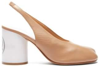 a1515b408a0 Maison Margiela Tabi Slit Toe Holographic Heel Slingback Pumps - Womens -  Nude