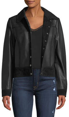 Neiman Marcus Leather Collection Snap-Front Suede-Trim Leather Trucker Jacket