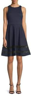 Eliza J Lace-Hem Fit--Flare Dress