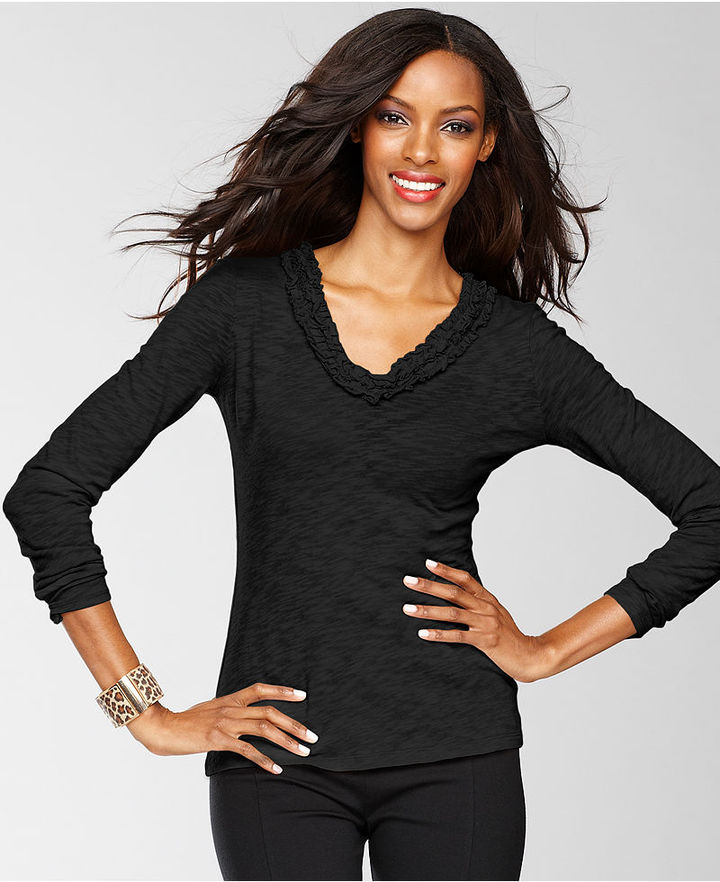 INC International Concepts Top, Long-Sleeve V-Neck Ruffle-Trim