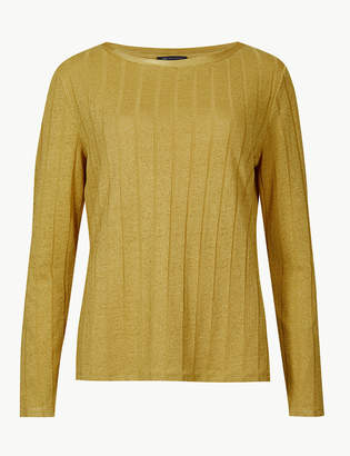 Marks and Spencer Ribbed Round Neck Open Knit T-Shirt