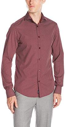 Armani Jeans Men's Geometric Print Long Sleeve Button Down Shirt