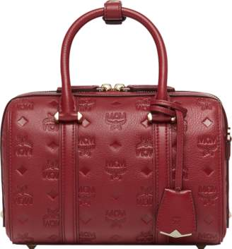 MCM Essential Boston Bag In Monogram Leather