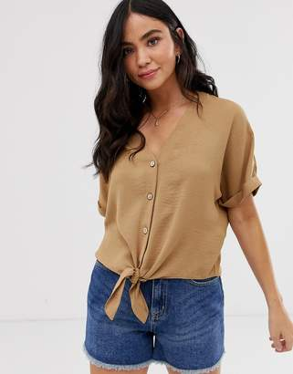 New Look button down tie front blouse in camel