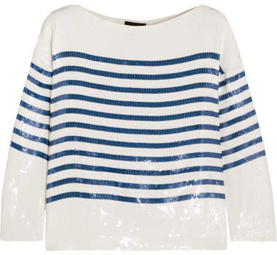 J.Crew - Deckhand Striped Sequined Silk-satin Top - White