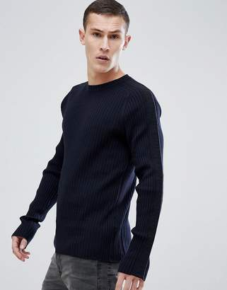 HUGO Tapped Detail Ribbed Sweater In Navy