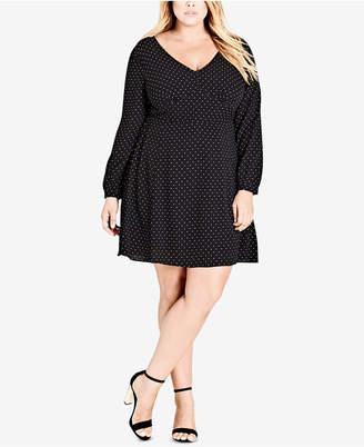 City Chic Trendy Plus Size Polka-Dot A-Line Dress