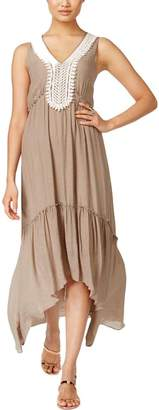 NY Collection Womens Crochet Trim Casual Maxi Dress Taupe XL