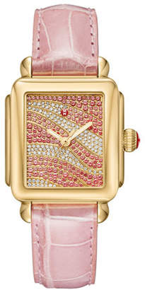 Michele Deco 18 Sapphire & Diamond Watch with Pink Alligator Strap