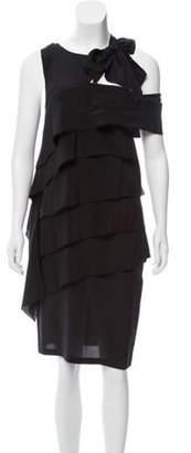 Fendi Ruffle-Trimmed Silk Dress Black Ruffle-Trimmed Silk Dress