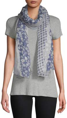 Vince Camuto Women's Torn Floral and Textile Scarf