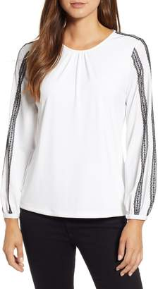 Karl Lagerfeld Paris Lace Detail Knit Top